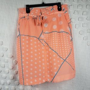Downeast Retro Orange and White Dot Skirt Size 12
